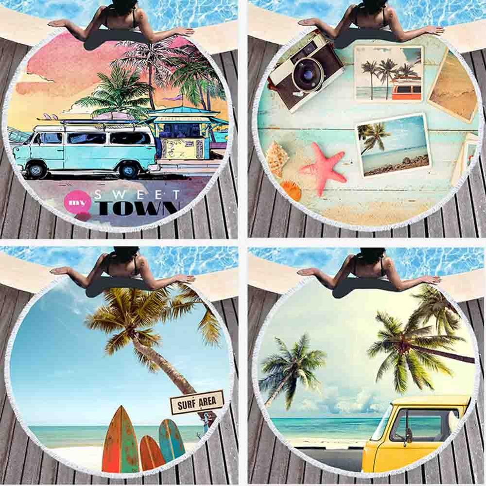 Seaside Scenic Beach Towel Hanging Wall Tapestry Yoga Beach Surf Palm Trees Car Bus Print Hippie Boho Mural Carpet Home Decor
