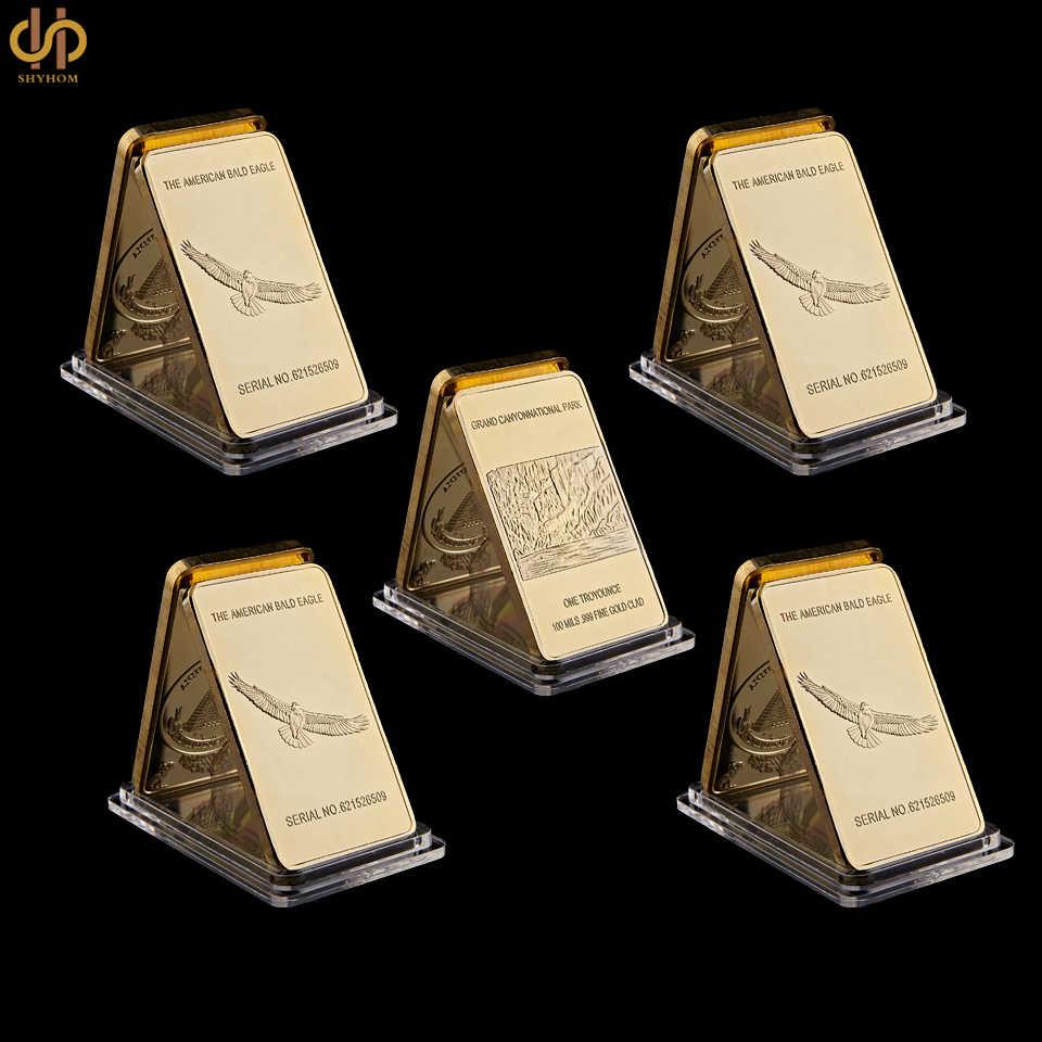 5pcs Usa Coin Value Grand Canyon National Park Bald Eagle Fine Gold Bullion Bar One Troy