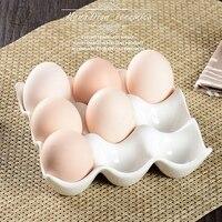 Креативный керамический 9 сетка лоток для яиц бытовой кухонный холодильник свежие яйца коробка для хранения выпечки Посуда для выпечки яич...