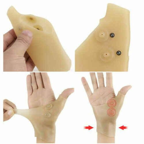 1 Pasang Magnetik Sarung Tangan Terapi Thumb Support Pijat Korektor Pergelangan Tangan Slicone Sarung Tangan untuk Pria Wanita