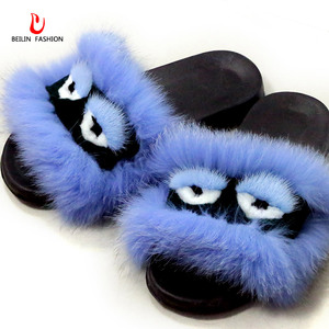 Women Shoes Fox Fur Slippers F