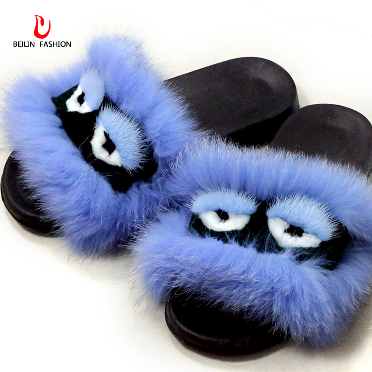 Women Shoes Fox Fur Slippers Fluffy Slippers Sandals Women Real Fur Slides Female Sandals With Fur Home Cute Plush Shoes