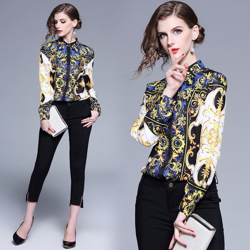 2019 New Women Satin Blouses Plaid Printing Novelty Office Ladies Shirts Work Wear Chothing Femme Tops 2XL