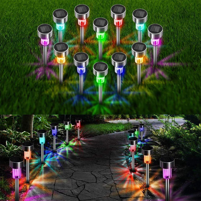 Powered LED Garden Lights 24 Color Solar Automatic Led Lawn Lamps Outdoor Path Underground Floodlights Lighting Solar Lamps