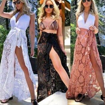 2019 Women  Lace Mesh Bikini Cover Up  Swimsuit Bathing Beach Skirts  Hot 2