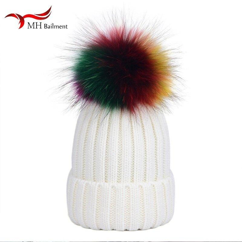 ladies autumn winter new fashion color raccoon knit fur hat pompom decoration cap women hip hop femme beanies multiple colour