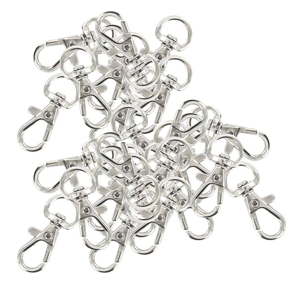 30pcs Swivel Carabiners Keychain Silver Color