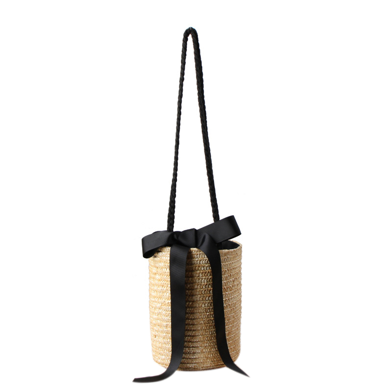 Japan Style Bucket Cylindrical Straw Bags Bow Wheat-straw Woven Women Crossbody Bags Shoulder Tote Bag StringJapan Style Bucket Cylindrical Straw Bags Bow Wheat-straw Woven Women Crossbody Bags Shoulder Tote Bag String
