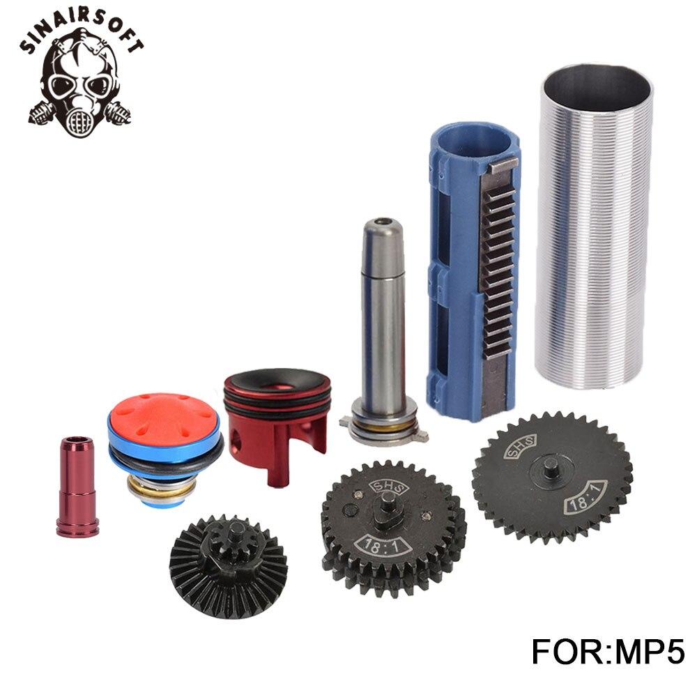 SHS 18:1 jeu d'engrenages buse cylindre ressort Guide 14 dents Piston adapté pour AEG Airsoft MP5 AK M4 M16 G36 accessoires Paintball