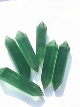 Natural crystal fluorite double tip, green column energy decoration wholesale
