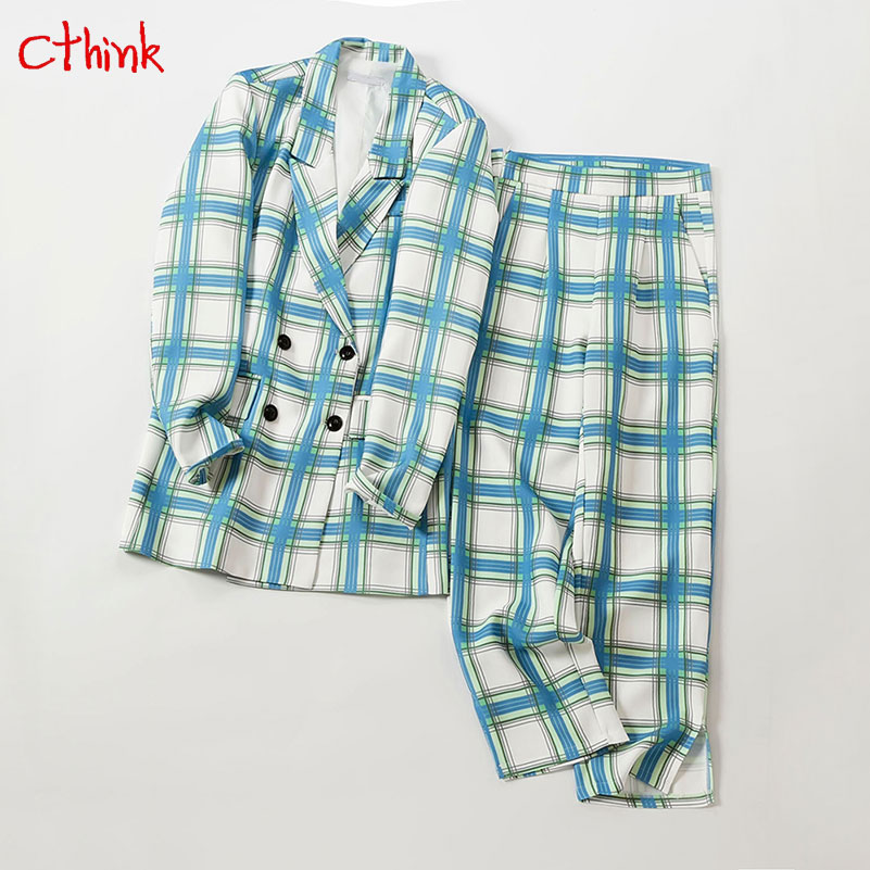 Spring Big Plaid Office Lady Pant Suits Women 2019 Fashion Green And Blue Double Breasted Blazers And Pant Womens 2 Piece Sets