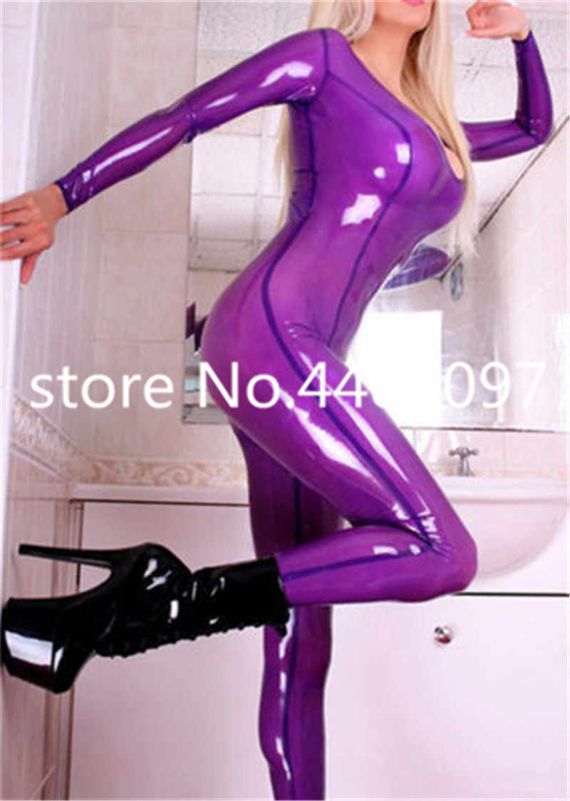 Sexy Latex Catsuit Transparent Purple Rubber Bodysuits Women Clubwear Customize(no socks)