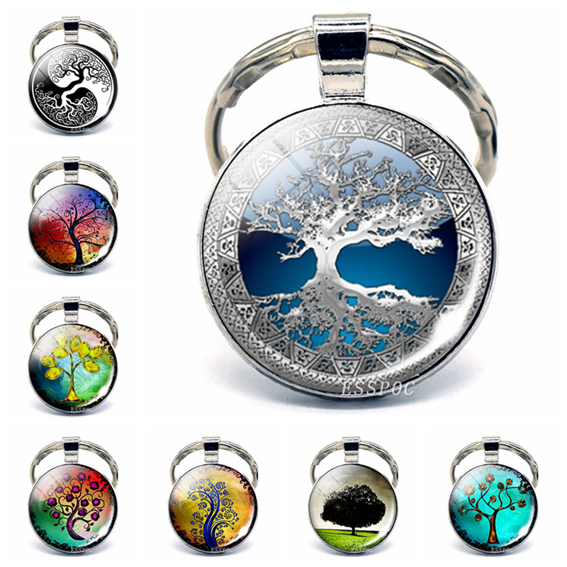 Tree Of Life Keychain Art Photo Jewelry Keychain Women Fashion Car Key Chain Rings Tree Of Life Pendant Valentines Gifts