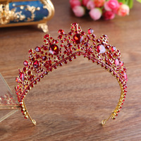 Red Rhinestone Tiara Crown Gold Color Metal Headband Hair Jewelry Princess Wedding Bridal Headpiece Headwear Ornament Gifts New