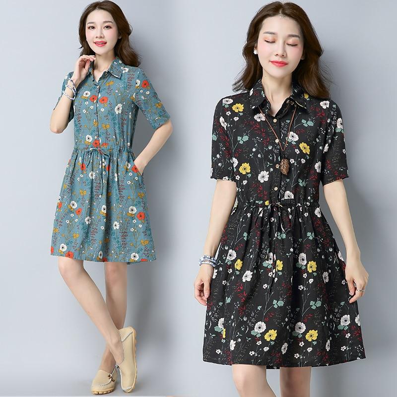 #0414 летнее хлопковое и льняное плиссированное платье с цветочным принтом для женщин, винтажное платье рубашка с эластичной резинкой на талии, платья на пуговицах спереди|Платья|   | АлиЭкспресс