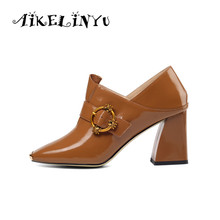 AIKELINYU  Genuine Leather Lady Pumps Caramel Color Cowhide High Square Heel Women Shoes Toes Metal Decoration Handmade