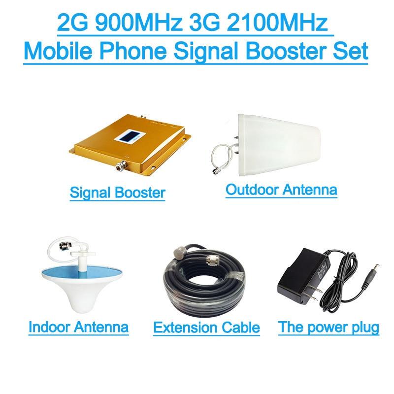 LEORY LCD affichage 3G W-CDMA 2100 MHz + 2G GSM 900 Mhz double bande amplificateur de Signal de téléphone portable GSM 900 2100 UMTS répéteur de Signal