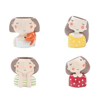 Цветочный набор для девочек-4 шт., европейский стиль, суккулентные горшки для растений, мини бонсай, кактус, цветочный горшок, домашний декор,...