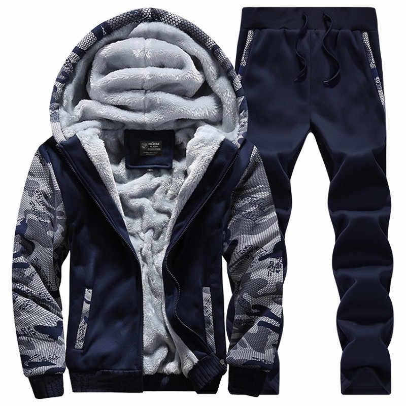 Молодежный Мужской Модный повседневный спортивный костюм, новый брендовый теплый комплект из двух предметов, мужские комплекты из хлопка и флиса, Мужская Толстая куртка с капюшоном + штаны