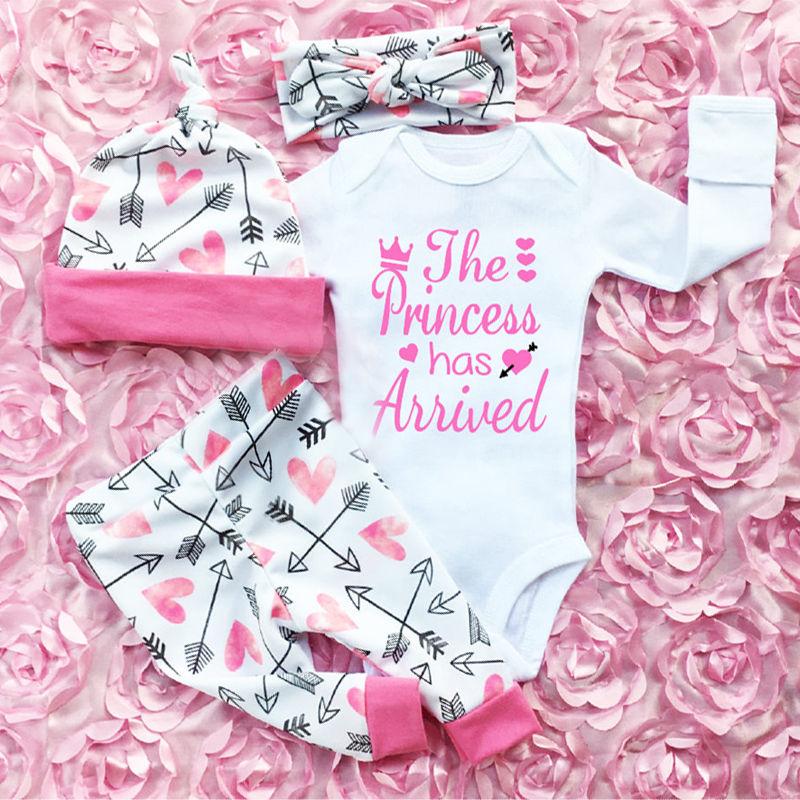Pudcoco Girl Suits 3PCS Newborn Infant Baby Girls Clothes Playsuit Romper Pants  Outfit Set