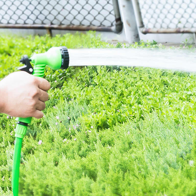 Venta caliente 25Ft-200Ft manguera de jardín expandible mágica Flexible de Agua UE mangueras de plástico con PISTOLA DE PULVERIZACIÓN para riego, lavado de coches