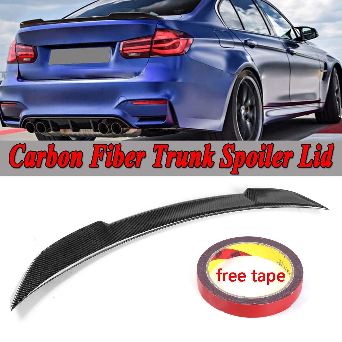 Performance Carbon Fiber Trunk Spoiler Lip Wing Fit 2012-2018 BMW F30 3-Series