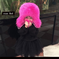 Russian Fashion Real Fox Fur Children Autumn Winter Boy Girls Warm Lovely Kids baby Hat Lei Feng Cap H#19