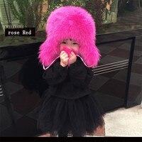 Russian Fashion Real Fox Fur Children Autumn Winter Boy Girls Warm Lovely Kids baby Hat Lei Feng Cap H#19