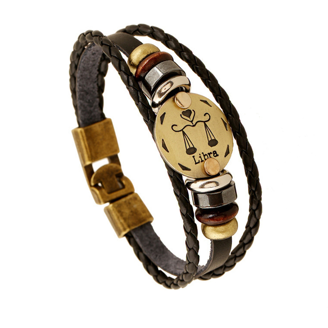 Punk Style Bracelet Jewelry Newest Vintage Metal Charm Libra Bracelet Fashion Cow Leather Rope Bracelet B18205