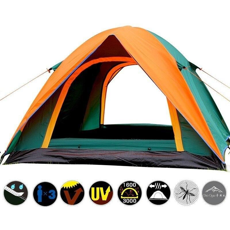 3-4 personne Double couche Camping tente avec Double porte extérieure imperméable auvent tente 200x180x140 cm pour pêche Camping fête - 2