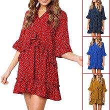 NiceMix Hot 2019 Spring summer loose easing v-neck falbala leisure chiffon wave point Dot three quarter sleeve girls Mini Dress