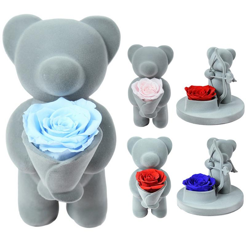 Everlasting Rose Bear Hug Flower Doll For Valentine's Day Ornament Simulation Decoration Festive Party Supplies
