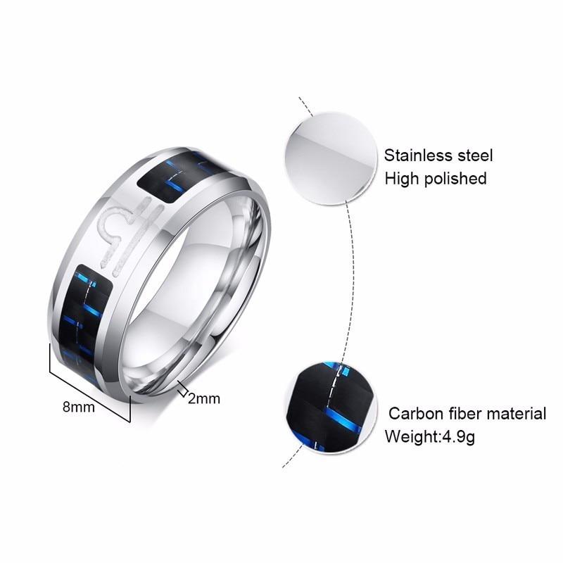 Vnox Twelve Constellations Rings for Men Women 8mm Stainless Steel Anel Male Classic Carbon Fiber 12 Horoscope Ring 5