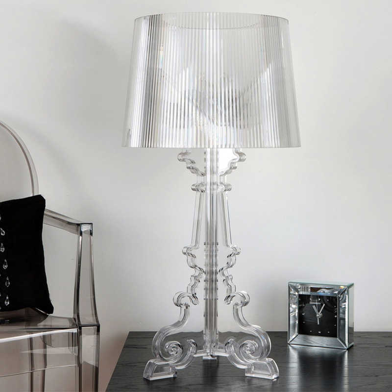 "Clear Acrylic 20"" High Accent Table Lamp Transparent Bedside Lamp LED Crystal Bedroom Nightstand Lamp Living Room US EU Plug E27"