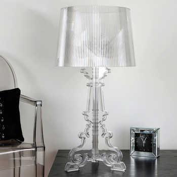 """Acrílico claro 20 """"alta acento candeeiro de mesa lâmpada de cabeceira transparente led cristal quarto cabeceira lâmpada sala estar eua plug ue e27"""
