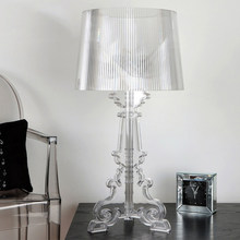 "Clear Acrylic 20"" High Accent Table Lamp Transparent Bedside Lamp LED Crystal Bedroom Nightstand Lamp Living Room US EU Plug E27(China)"