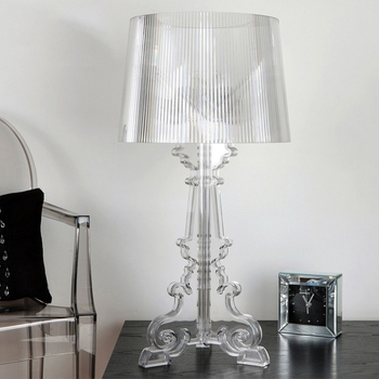 Transparent Bedside Lamp LED Bedroom Nightstand Lamp Living Room US EU Plug E27 Clear Acrylic High Accent Table Lamp