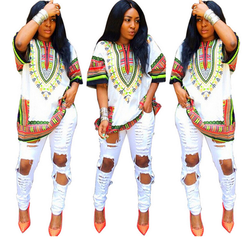 Unisex Tribal African Shirt Dress Men Women Dashiki Print Hippie Style Caftan