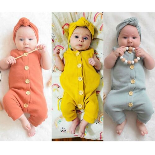Newborn Baby Boys Girls   Romper   Jumpsuit Outfits Clothes Summer Sleeveless Knitted Casual Baby Clothing0-18M