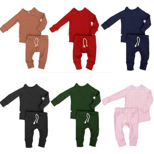 0-24 Mt Neugeborenes Kind Baby Junge Mädchen Baumwolle Langarm Pyjama Set Nachtwäsche Nachtwäsche Tops Hosen 2 Stücke Baby Kleidung Outfits