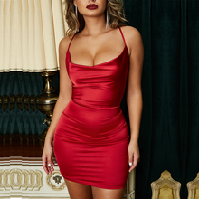Parthea 2 Layers Women Dress Summer Party Mini Red Satin Cross Backles Sexy Fashion Leopard Print Pencil Short