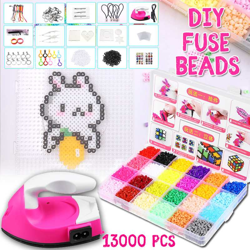 цена на With Iron 13000pcs/bag 2.6mm Fuse Beads Puzzles Hama Beads 24 Colors Craft Peg Board Activity Educational Gift Kid Toy DIY