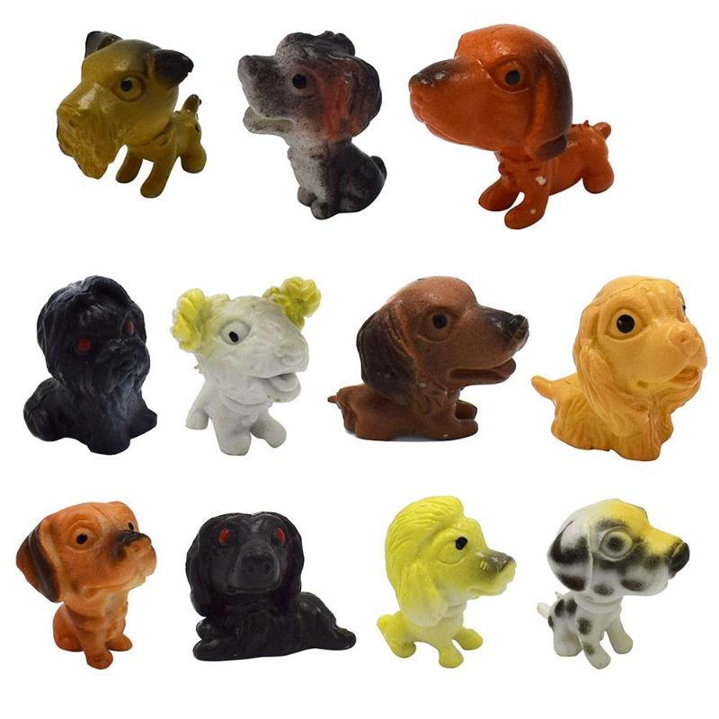 12pcs/Set Plastic Simulation Mini Dogs Figures Animals Models Kids Children Emulation Animal Puppy Toys Gifts Action Toy Figures
