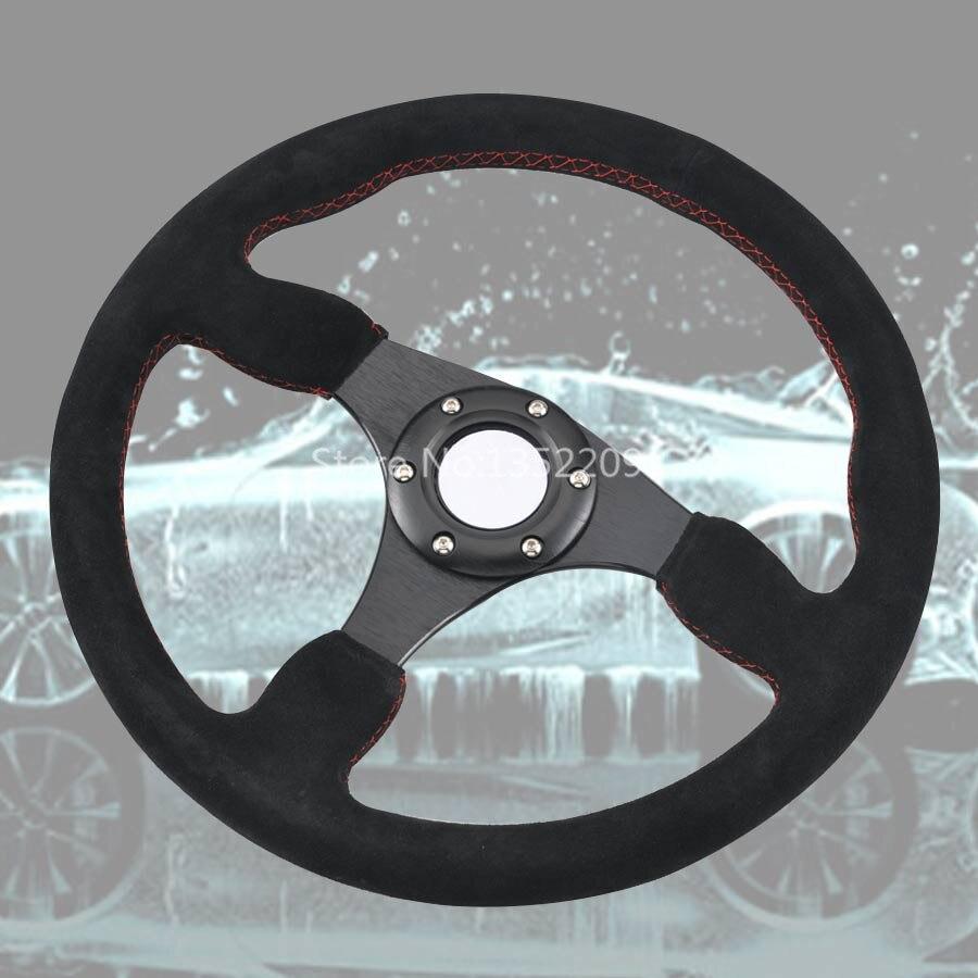 Universal 347MM Diameter Suede Stitching Aluminum Alloy Racer Sports Steering Wheel