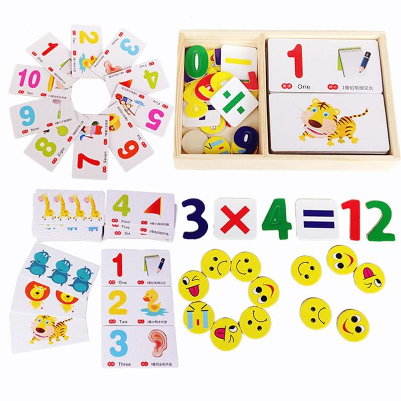 Cartoon Wood Math Toy Baby Learning Number Cards Cognitive Kid Early Educational Toy Learning Education for Baby Toys