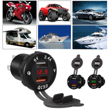 IP66 12V 3.4A QC3.0 Auto Car Dual USB Charger with Voltage Meter Motorcycle Truck ATV Boat LED Socket Power Adapter