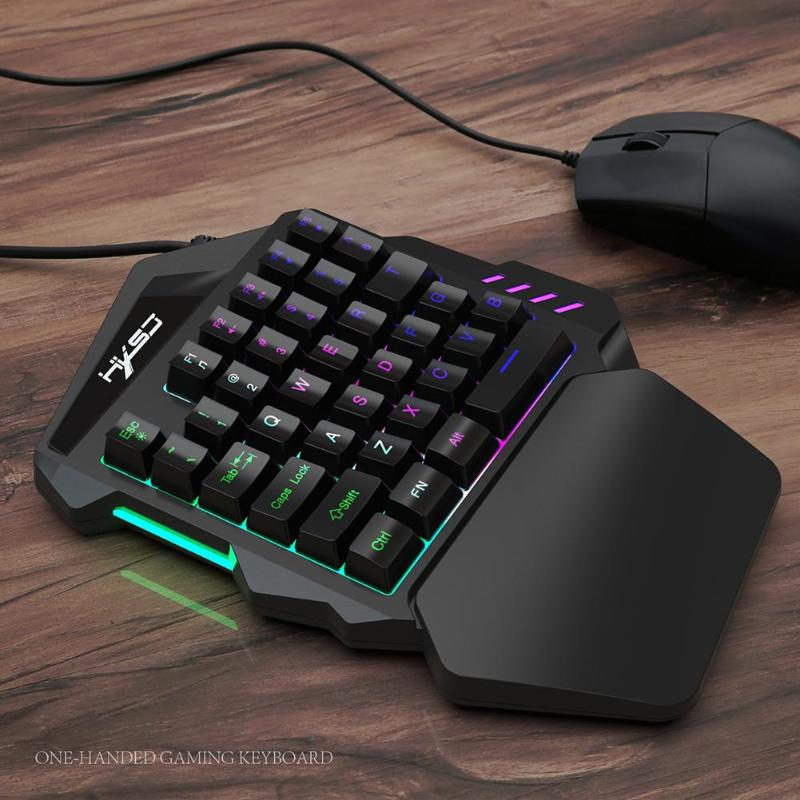 New Arrival V100 1.6m Wired Gaming Keyboard Mechanical Feel Backlight 35 Keys One-handed Keyboard Black For PC MINI Keyboard