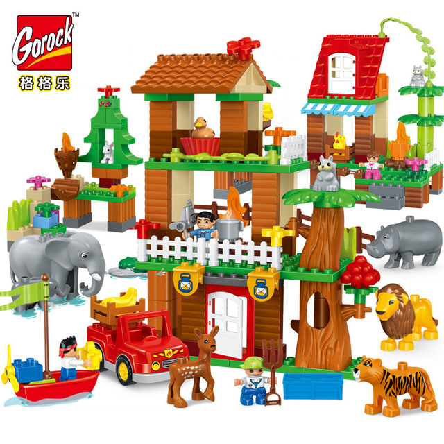 3sets LegoING duplo zoo set Building Blocks Jungle animal Large Size DIY Enlighten Bricks Compatible Figures Toys for babyKids