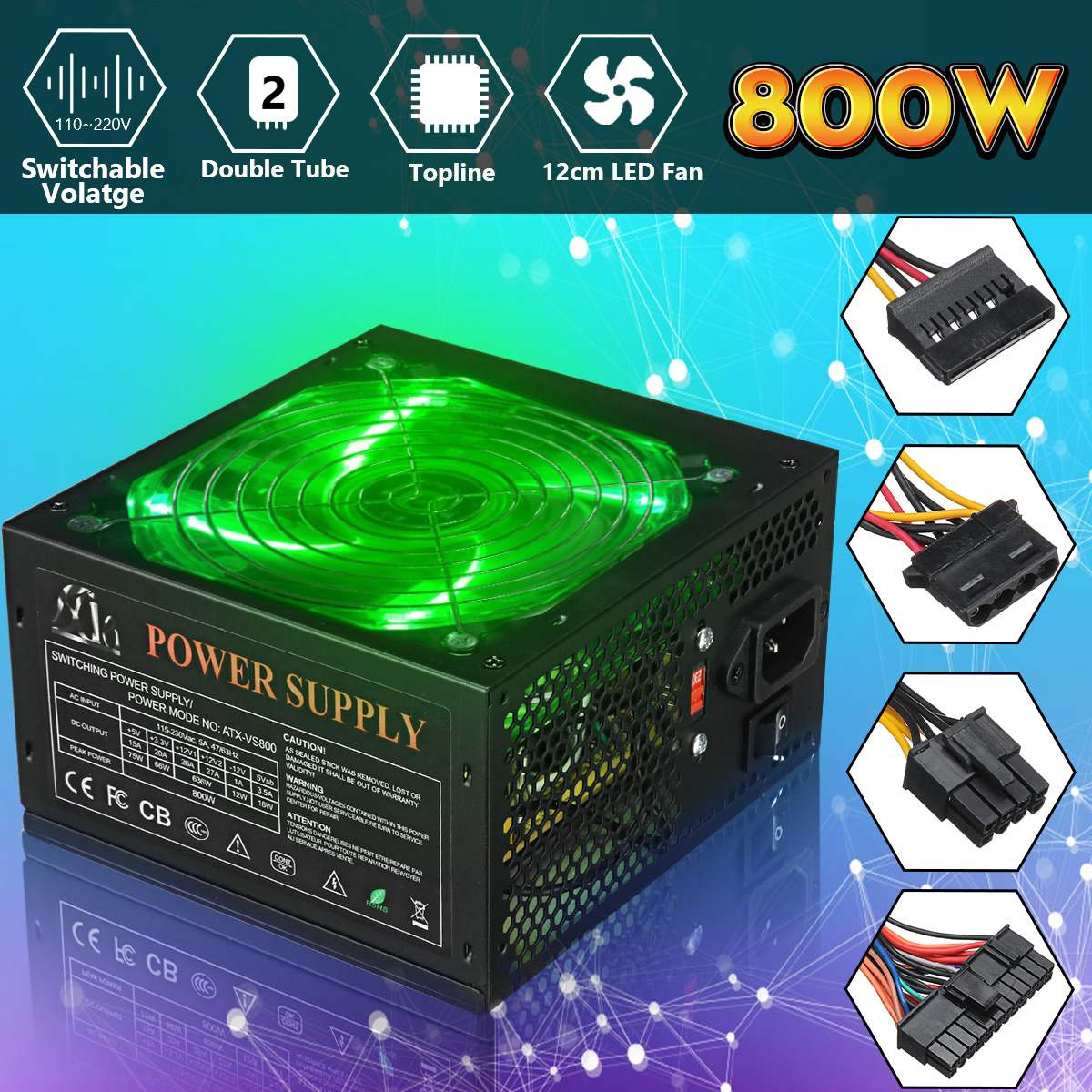 110~220V 800W PC Power Supply 12cm LED Silent Fan With Intelligent Temperature Control Intel AMD ATX 12V For Desktop Computer