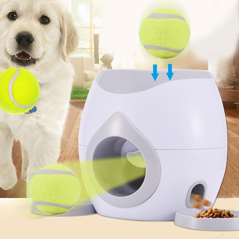Food Reward Machine Dogs With Tennis Ball Interactive Fetch Treat Pet Ball Play Toy Game IQ Training DropshippingFood Reward Machine Dogs With Tennis Ball Interactive Fetch Treat Pet Ball Play Toy Game IQ Training Dropshipping